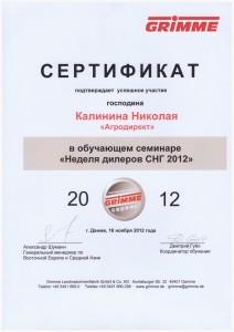 Гримме 2012, Калинин