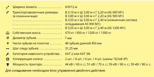 Штригельная борона AS от APV технические характеристики, шириной захвата 6,9 и 12 метров 2