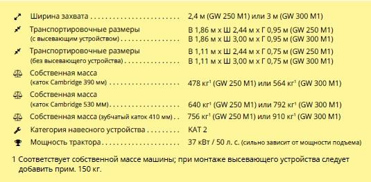 GW катки от APV технические характеристики, шириной захвата 2,4 и 3 метра